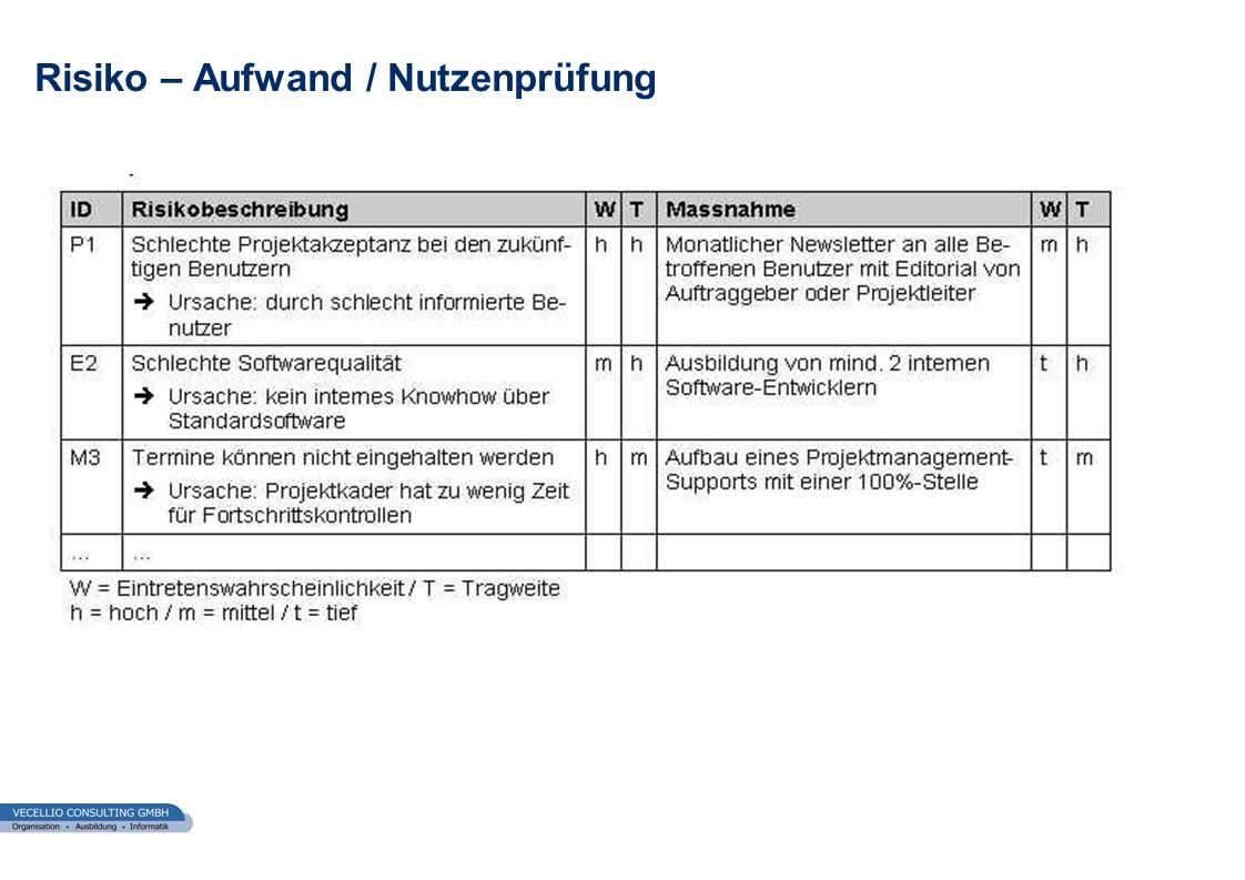 wwgs1.ch Risiko – Aufwand / Nutzenprüfung