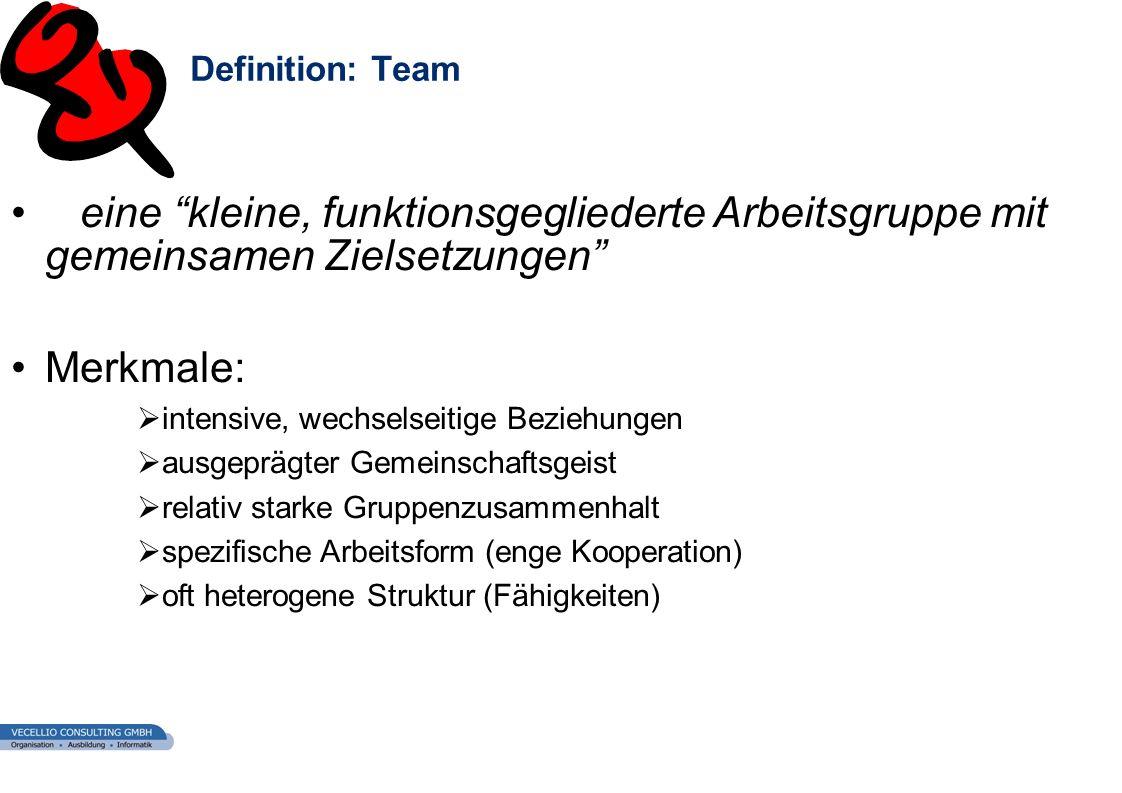 wwgs1.ch Definition: Team eine kleine, funktionsgegliederte Arbeitsgruppe mit gemeinsamen Zielsetzungen Merkmale: intensive, wechselseitige Beziehunge