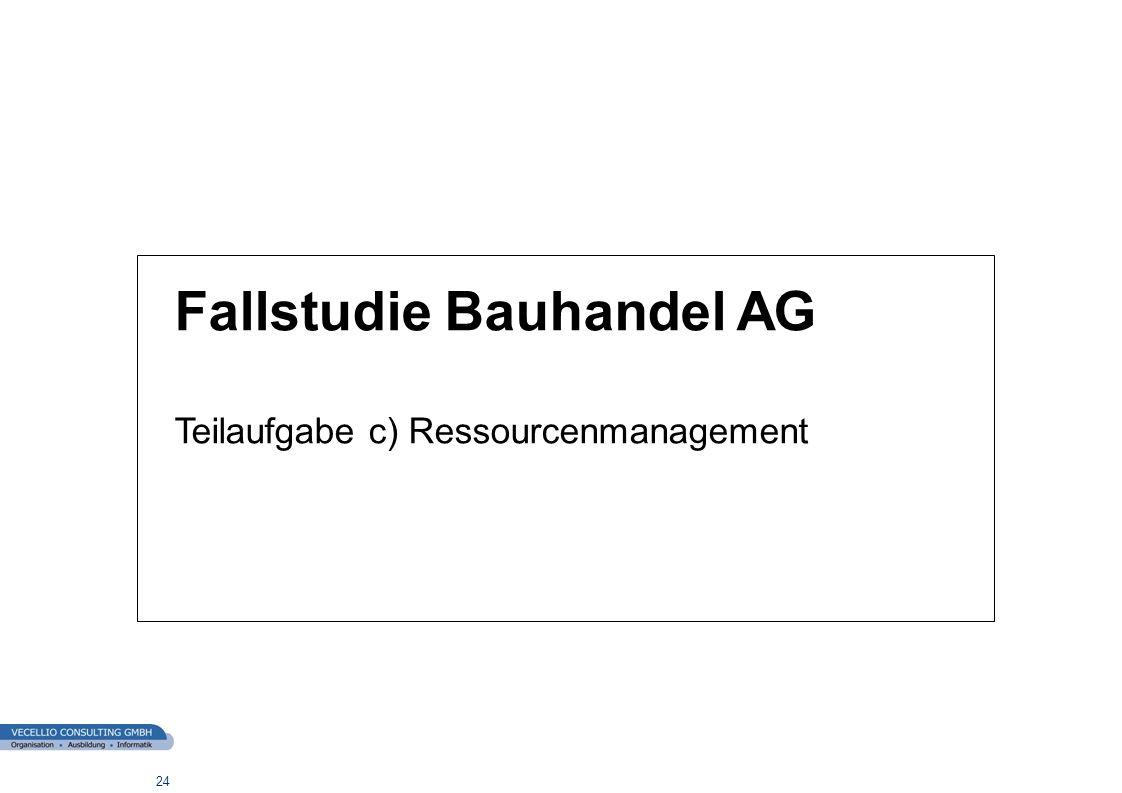 wwgs1.ch 24 Fallstudie Bauhandel AG Teilaufgabe c) Ressourcenmanagement