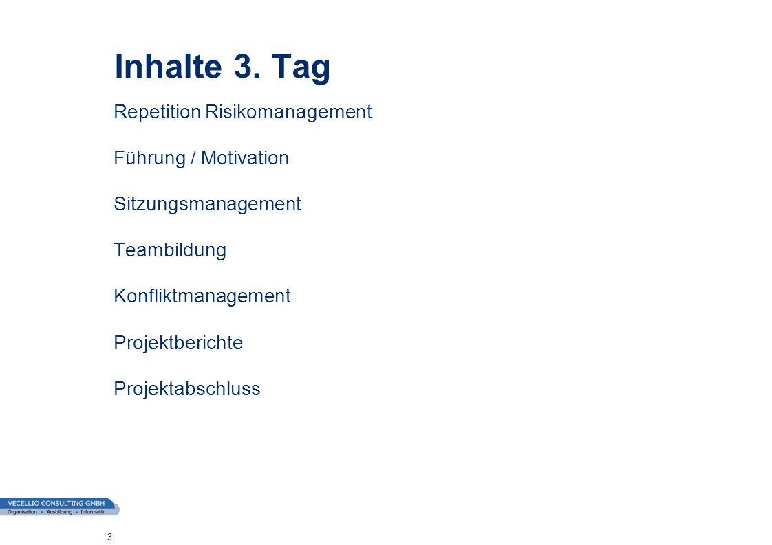 wwgs1.ch 3 Inhalte 3. Tag Repetition Risikomanagement Führung / Motivation Sitzungsmanagement Teambildung Konfliktmanagement Projektberichte Projektab
