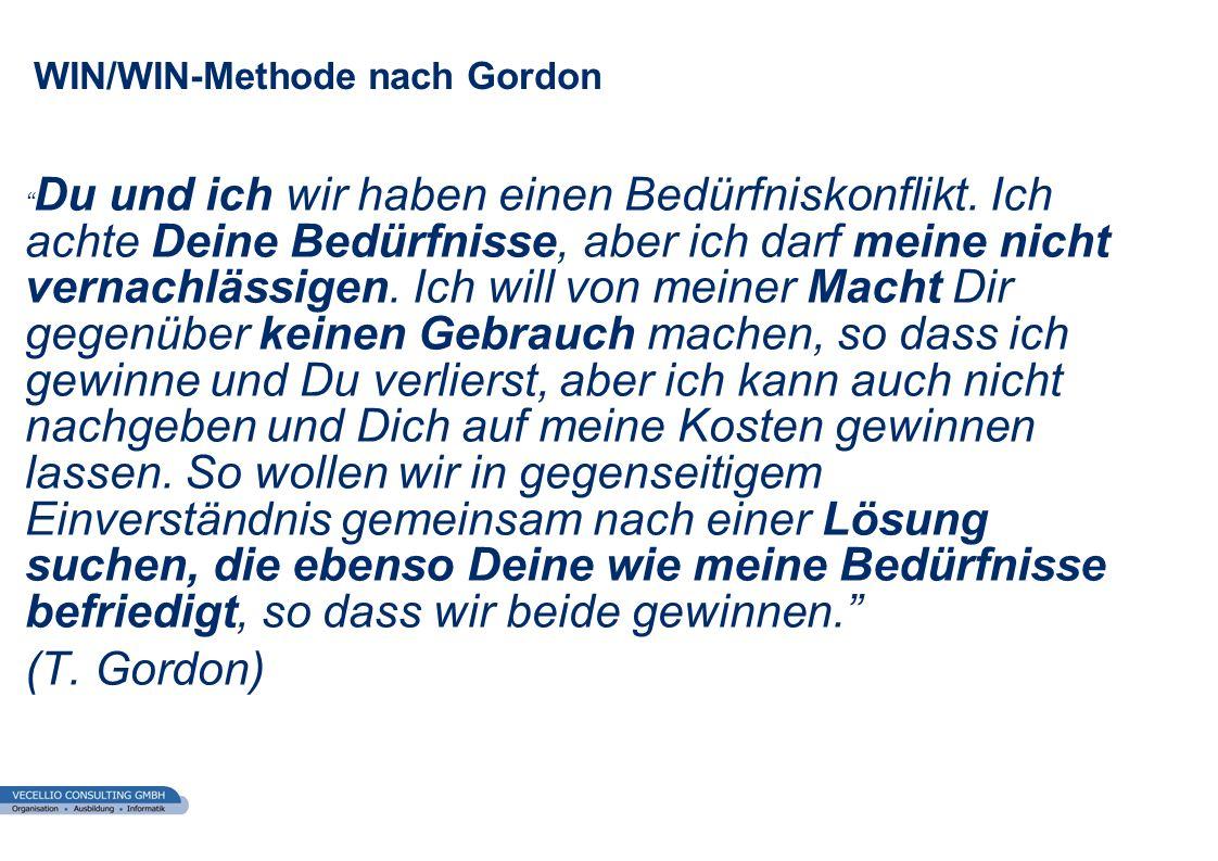 wwgs1.ch WIN/WIN-Methode nach Gordon Du und ich wir haben einen Bedürfniskonflikt. Ich achte Deine Bedürfnisse, aber ich darf meine nicht vernachlässi