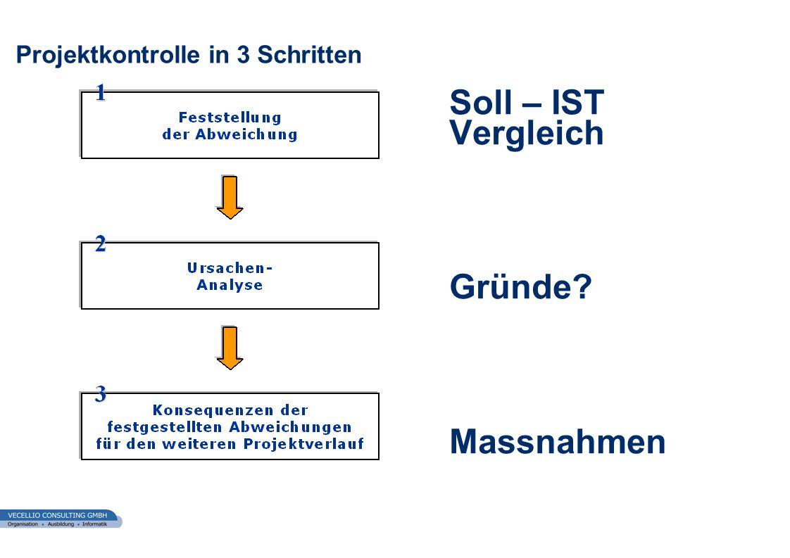 wwgs1.ch Projektkontrolle in 3 Schritten Soll – IST Vergleich Gründe? Massnahmen