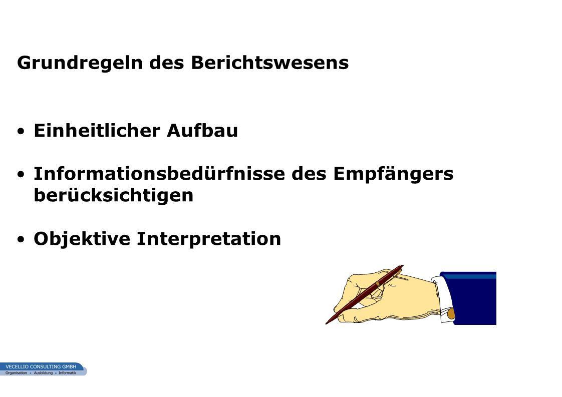 wwgs1.ch Einheitlicher Aufbau Informationsbedürfnisse des Empfängers berücksichtigen Objektive Interpretation Grundregeln des Berichtswesens