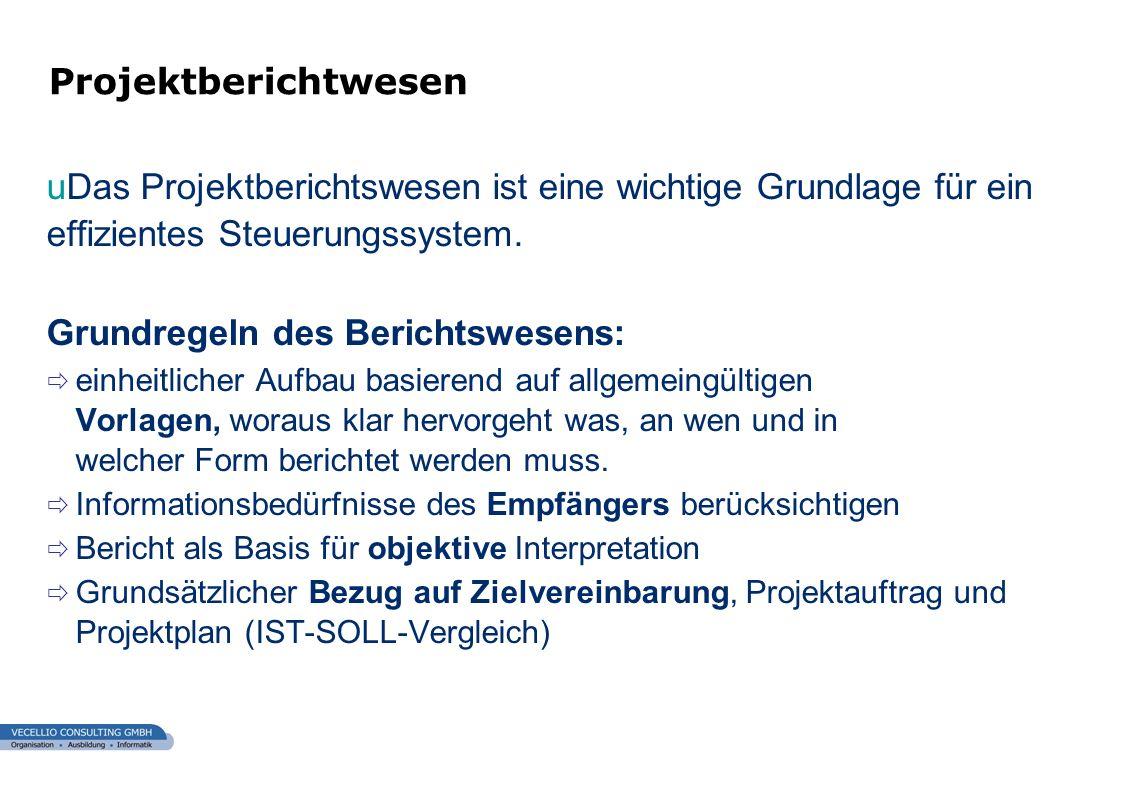 wwgs1.ch uDas Projektberichtswesen ist eine wichtige Grundlage für ein effizientes Steuerungssystem. Grundregeln des Berichtswesens: einheitlicher Auf