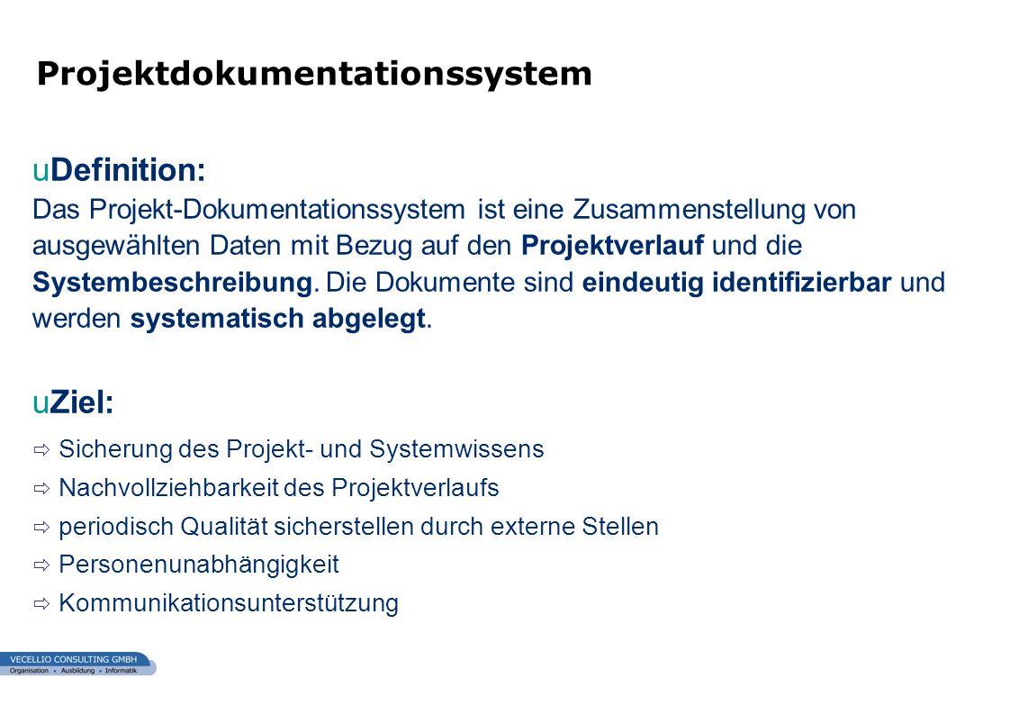wwgs1.ch uDefinition: Das Projekt-Dokumentationssystem ist eine Zusammenstellung von ausgewählten Daten mit Bezug auf den Projektverlauf und die Syste
