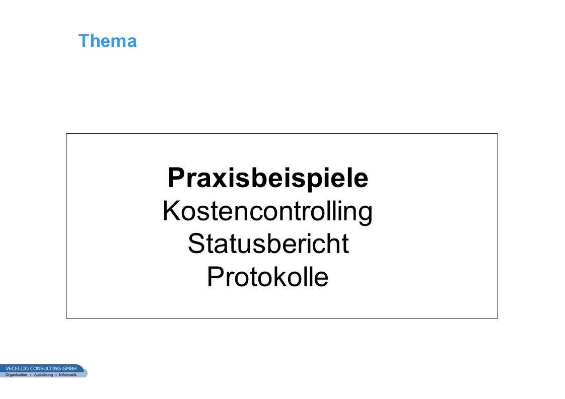 wwgs1.ch Thema Praxisbeispiele Kostencontrolling Statusbericht Protokolle