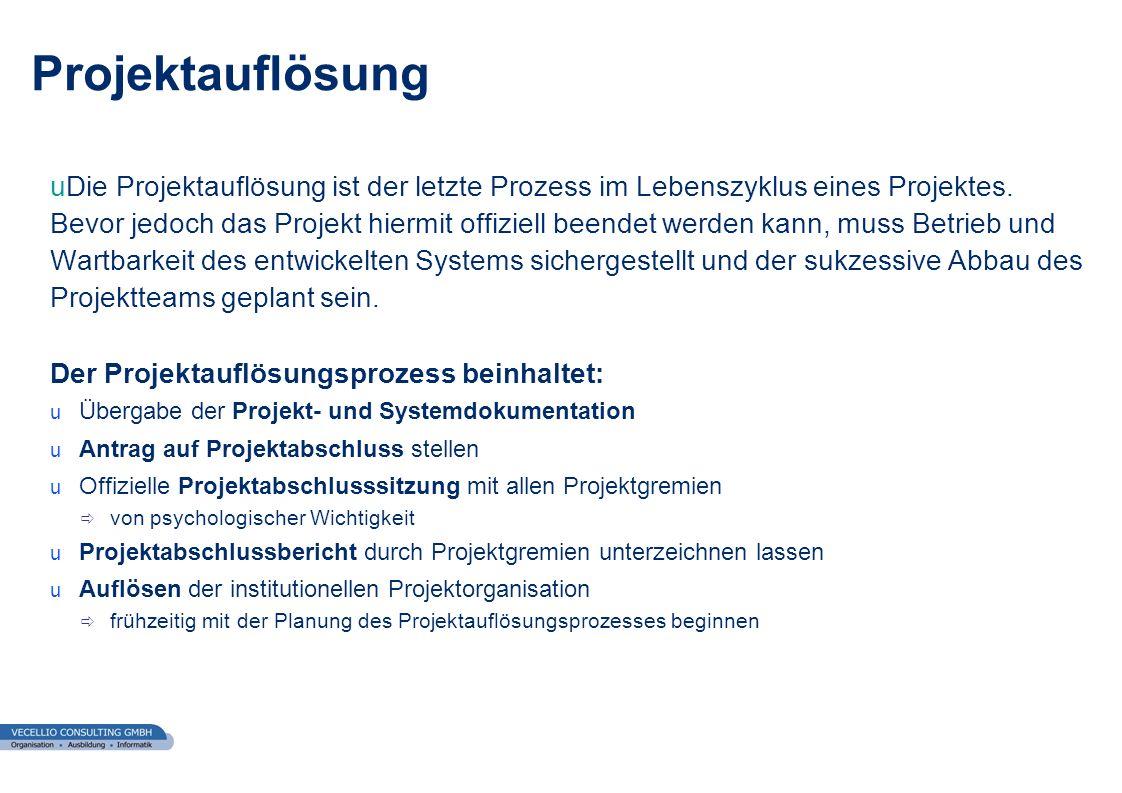 wwgs1.ch uDie Projektauflösung ist der letzte Prozess im Lebenszyklus eines Projektes. Bevor jedoch das Projekt hiermit offiziell beendet werden kann,