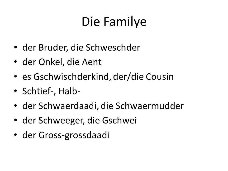 Die Familye der Bruder, die Schweschder der Onkel, die Aent es Gschwischderkind, der/die Cousin Schtief-, Halb- der Schwaerdaadi, die Schwaermudder der Schweeger, die Gschwei der Gross-grossdaadi