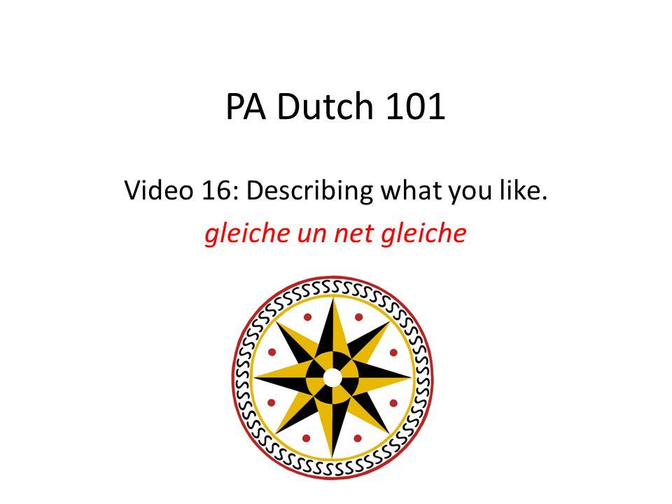 PA Dutch 101 Video 16: Describing what you like. gleiche un net gleiche