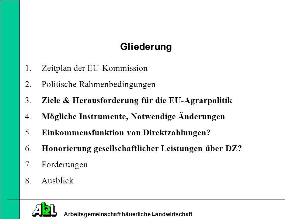 Arbeitsgemeinschaft bäuerliche Landwirtschaft 1.) Zeitplan der EU-Kommission -Finanzielle Vorausschau gilt (bisher) nur bis 2013 -D.h.