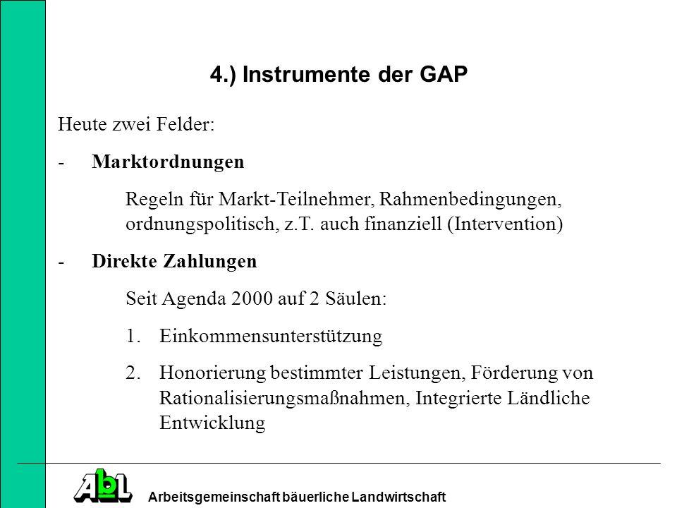 Arbeitsgemeinschaft bäuerliche Landwirtschaft 4.) Instrumente der GAP Marktordnungen Welches Gewicht werden aktive Regeln in Zukunft haben.