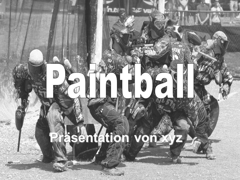 Inhalt Allgemeines Markierer Paintballs Schutzausrüstung Spielregeln + Punkteverteilung Spielfelder Spielvarianten Rechtliches Ausrüstung Videos Fragen Quiz
