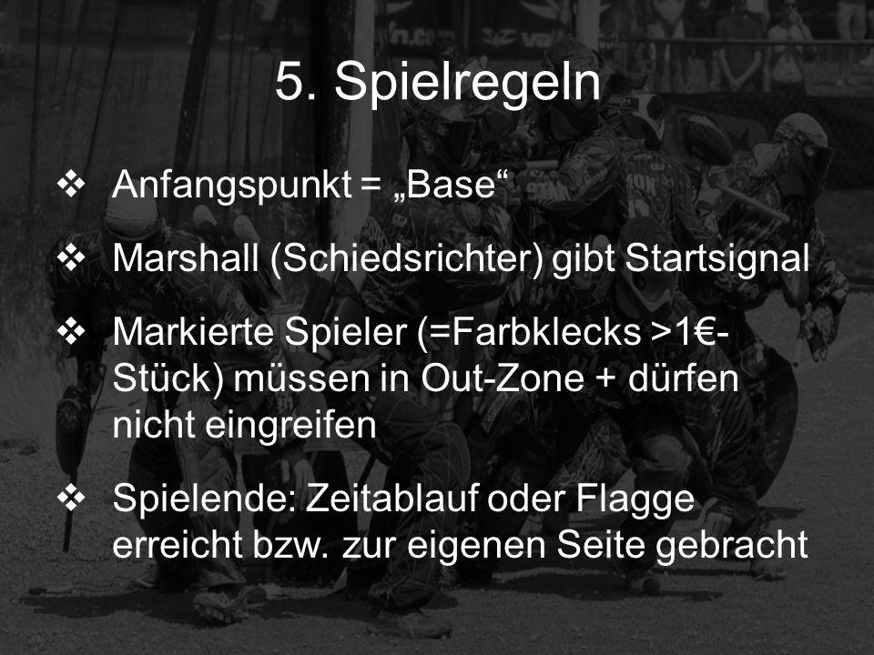 5. Spielregeln Anfangspunkt = Base Marshall (Schiedsrichter) gibt Startsignal Markierte Spieler (=Farbklecks >1- Stück) müssen in Out-Zone + dürfen ni