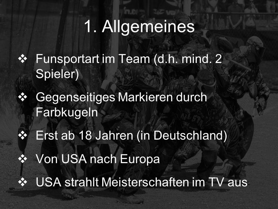 1. Allgemeines Funsportart im Team (d.h. mind. 2 Spieler) Gegenseitiges Markieren durch Farbkugeln Erst ab 18 Jahren (in Deutschland) Von USA nach Eur