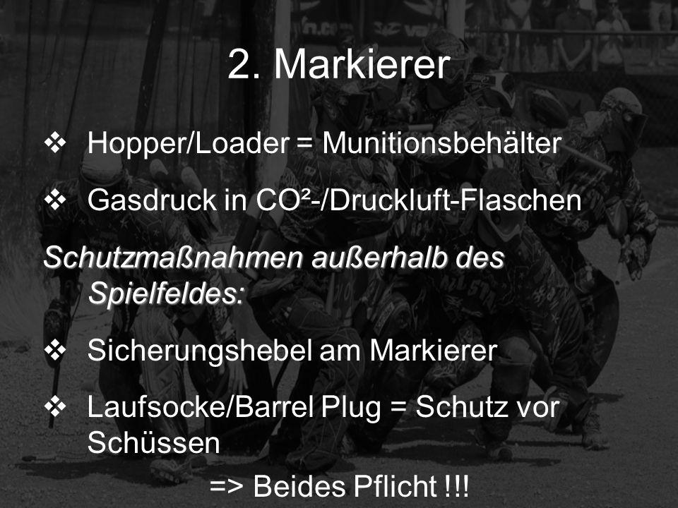 2. Markierer Hopper/Loader = Munitionsbehälter Gasdruck in CO²-/Druckluft-Flaschen Schutzmaßnahmen außerhalb des Spielfeldes: Sicherungshebel am Marki