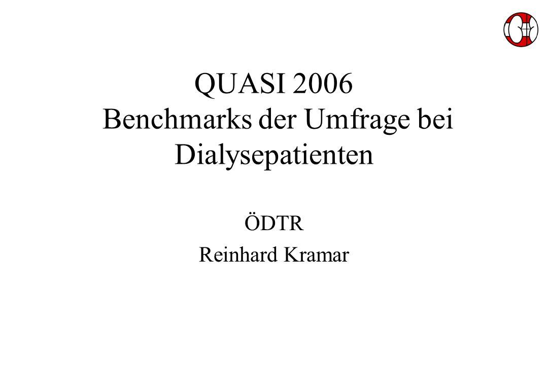 QUASI 2006 Benchmarks der Umfrage bei Dialysepatienten ÖDTR Reinhard Kramar