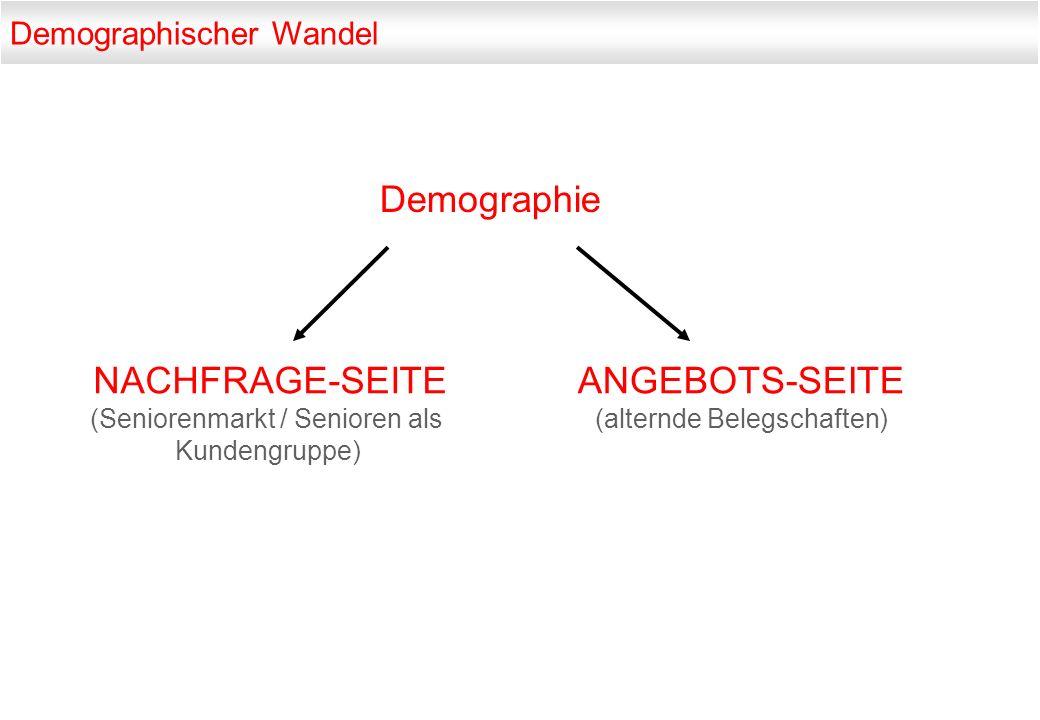 NACHFRAGE-SEITE (Seniorenmarkt / Senioren als Kundengruppe) Demographie Demographischer Wandel ANGEBOTS-SEITE (alternde Belegschaften)
