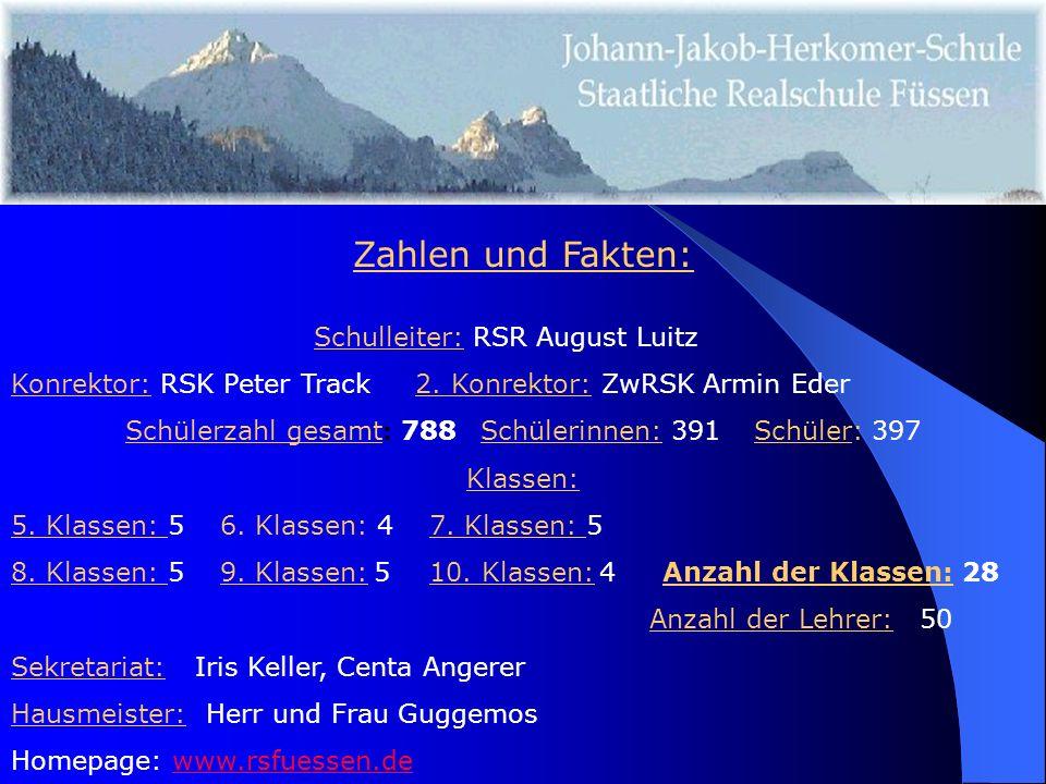 Zahlen und Fakten: Schulleiter: RSR August Luitz Konrektor: RSK Peter Track 2.