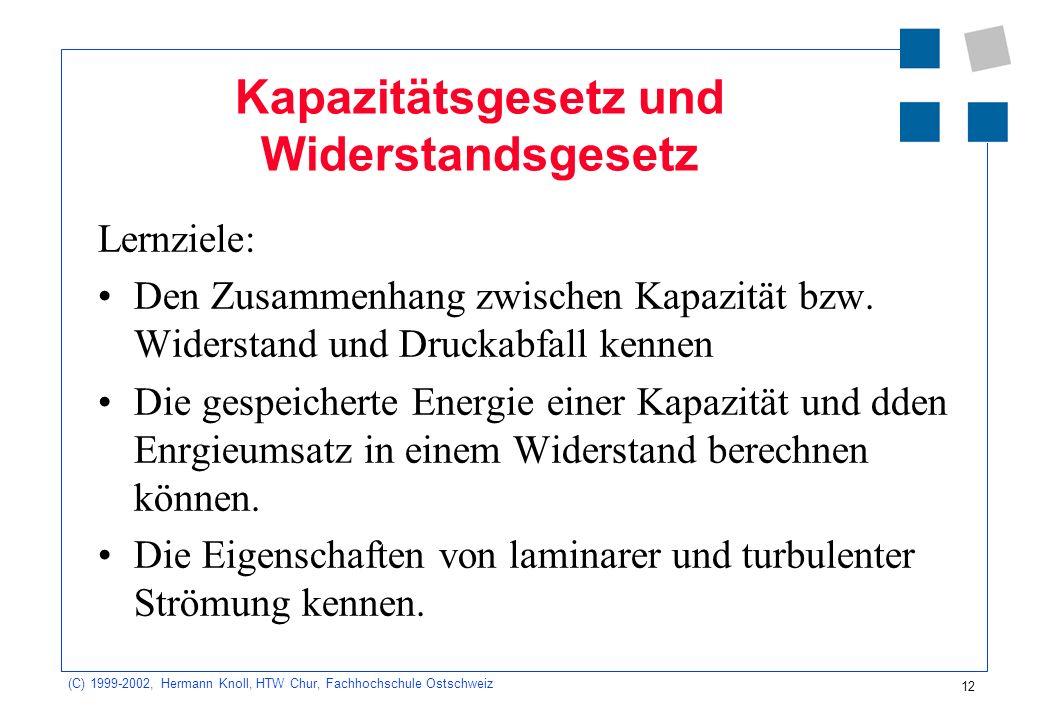 (C) 1999-2002, Hermann Knoll, HTW Chur, Fachhochschule Ostschweiz 12 Kapazitätsgesetz und Widerstandsgesetz Lernziele: Den Zusammenhang zwischen Kapaz