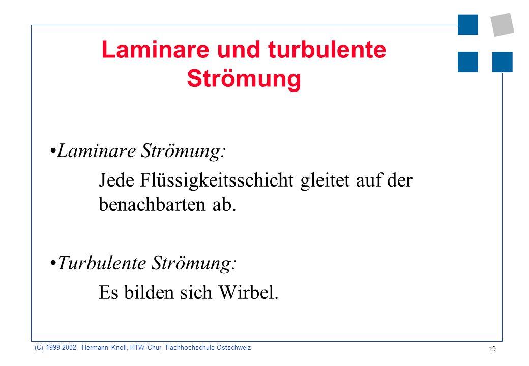 (C) 1999-2002, Hermann Knoll, HTW Chur, Fachhochschule Ostschweiz 19 Laminare und turbulente Strömung Laminare Strömung: Jede Flüssigkeitsschicht glei