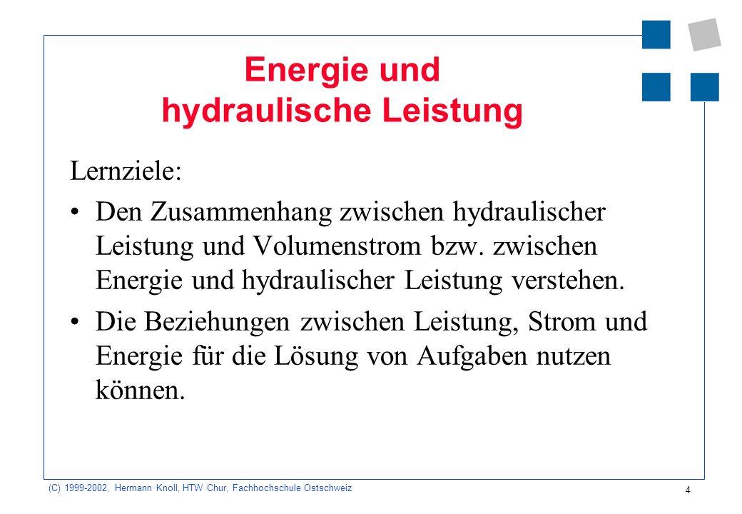 (C) 1999-2002, Hermann Knoll, HTW Chur, Fachhochschule Ostschweiz 5 Überblick Kommunizierende Gefässe Prozessleistung in der Hydraulik Die hydraulisch transportierte Energie