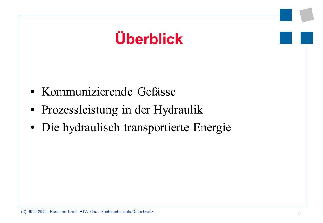 (C) 1999-2002, Hermann Knoll, HTW Chur, Fachhochschule Ostschweiz 5 Überblick Kommunizierende Gefässe Prozessleistung in der Hydraulik Die hydraulisch