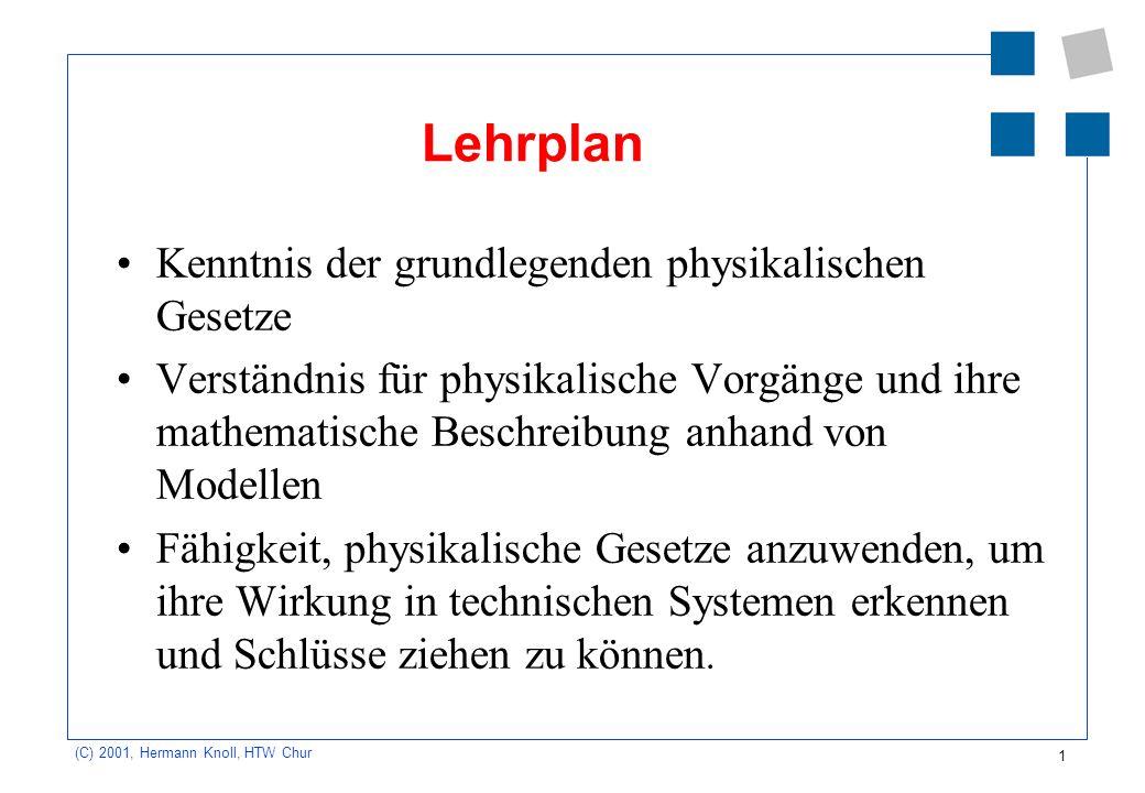 1 (C) 2001, Hermann Knoll, HTW Chur Lehrplan Kenntnis der grundlegenden physikalischen Gesetze Verständnis für physikalische Vorgänge und ihre mathema