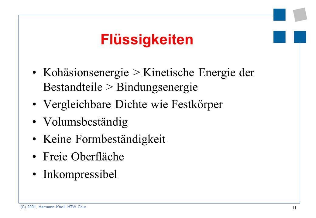 11 (C) 2001, Hermann Knoll, HTW Chur Flüssigkeiten Kohäsionsenergie > Kinetische Energie der Bestandteile > Bindungsenergie Vergleichbare Dichte wie F