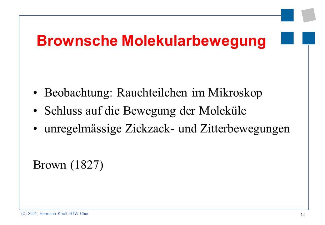 13 (C) 2001, Hermann Knoll, HTW Chur Brownsche Molekularbewegung Beobachtung: Rauchteilchen im Mikroskop Schluss auf die Bewegung der Moleküle unregel