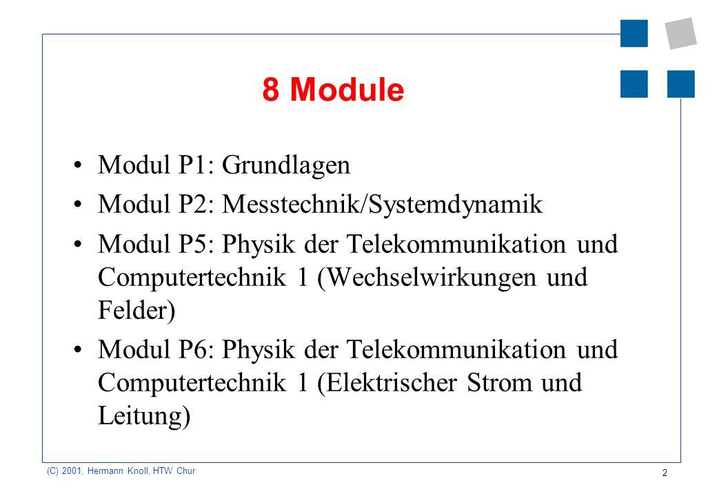 2 (C) 2001, Hermann Knoll, HTW Chur 8 Module Modul P1: Grundlagen Modul P2: Messtechnik/Systemdynamik Modul P5: Physik der Telekommunikation und Compu