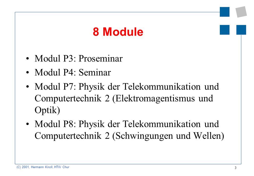 3 (C) 2001, Hermann Knoll, HTW Chur 8 Module Modul P3: Proseminar Modul P4: Seminar Modul P7: Physik der Telekommunikation und Computertechnik 2 (Elek