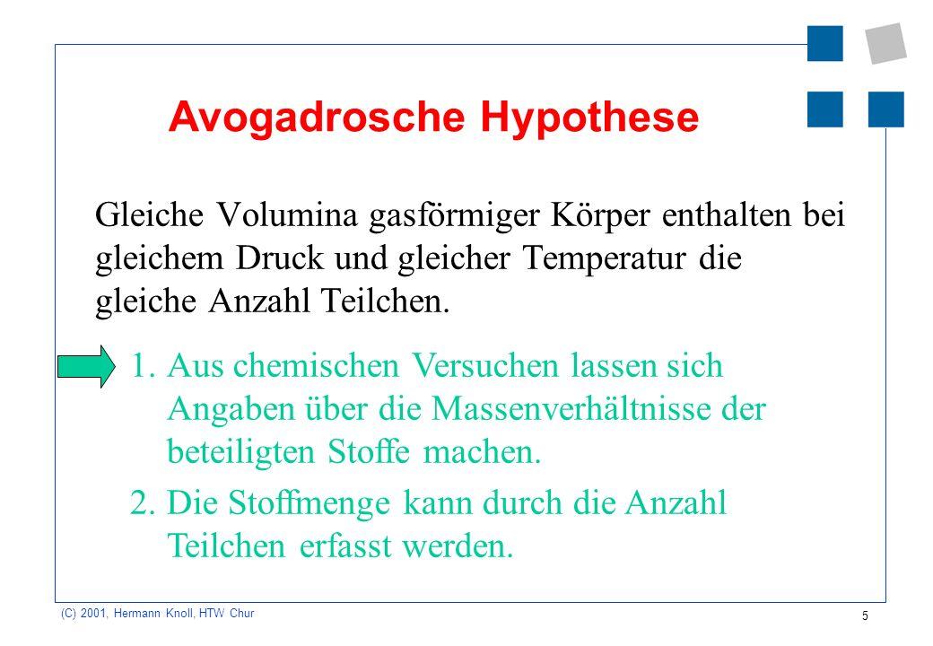 5 (C) 2001, Hermann Knoll, HTW Chur Avogadrosche Hypothese Gleiche Volumina gasförmiger Körper enthalten bei gleichem Druck und gleicher Temperatur di