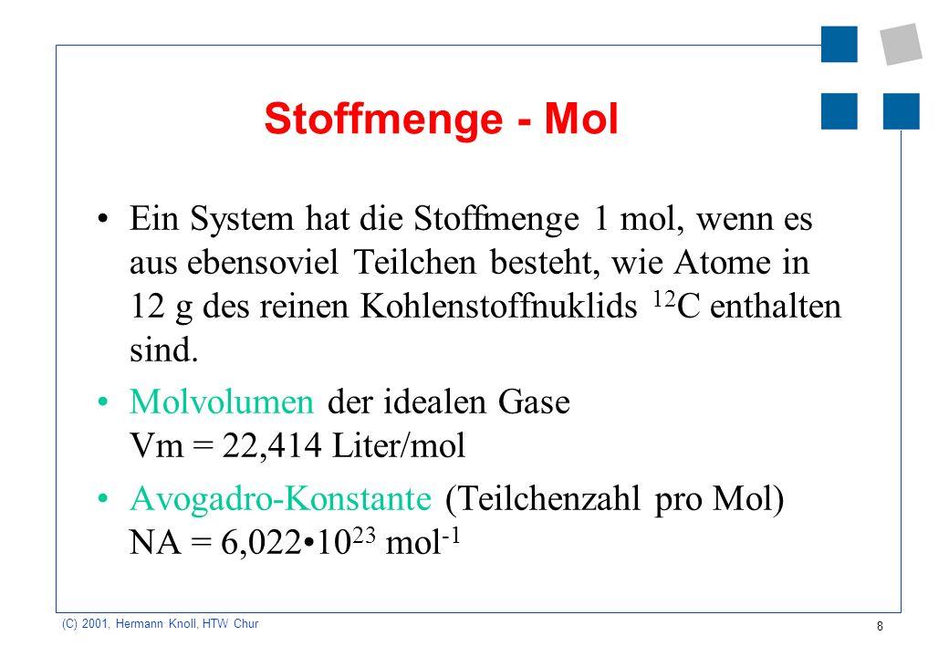 8 (C) 2001, Hermann Knoll, HTW Chur Stoffmenge - Mol Ein System hat die Stoffmenge 1 mol, wenn es aus ebensoviel Teilchen besteht, wie Atome in 12 g d