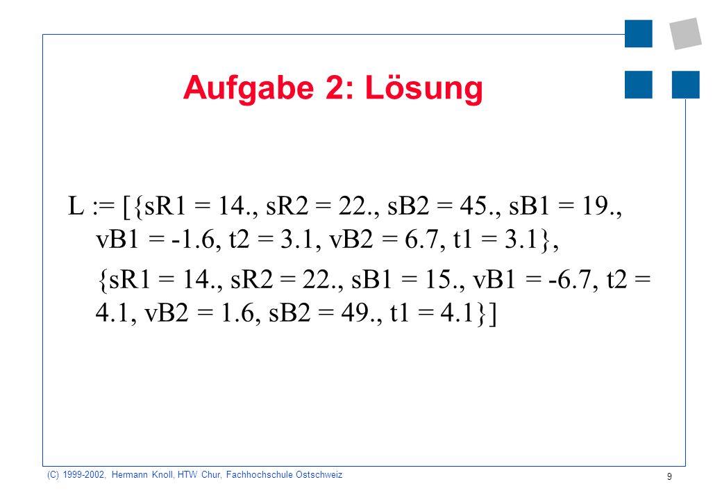 (C) 1999-2002, Hermann Knoll, HTW Chur, Fachhochschule Ostschweiz 9 Aufgabe 2: Lösung L := [{sR1 = 14., sR2 = 22., sB2 = 45., sB1 = 19., vB1 = -1.6, t