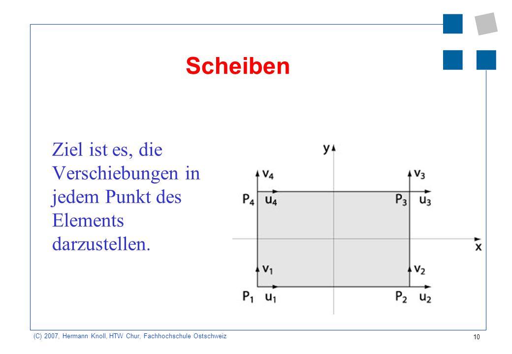 10 (C) 2007, Hermann Knoll, HTW Chur, Fachhochschule Ostschweiz Scheiben Ziel ist es, die Verschiebungen in jedem Punkt des Elements darzustellen.