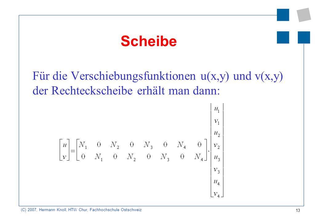 13 (C) 2007, Hermann Knoll, HTW Chur, Fachhochschule Ostschweiz Scheibe Für die Verschiebungsfunktionen u(x,y) und v(x,y) der Rechteckscheibe erhält man dann: