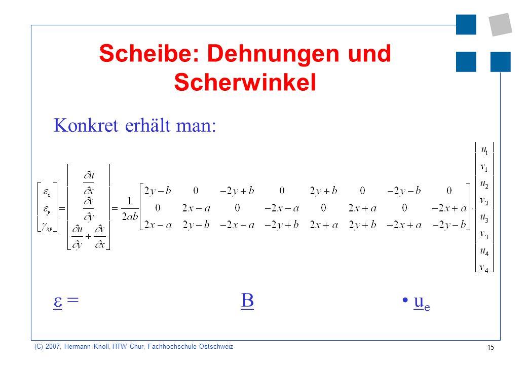 15 (C) 2007, Hermann Knoll, HTW Chur, Fachhochschule Ostschweiz Scheibe: Dehnungen und Scherwinkel Konkret erhält man: = B u e