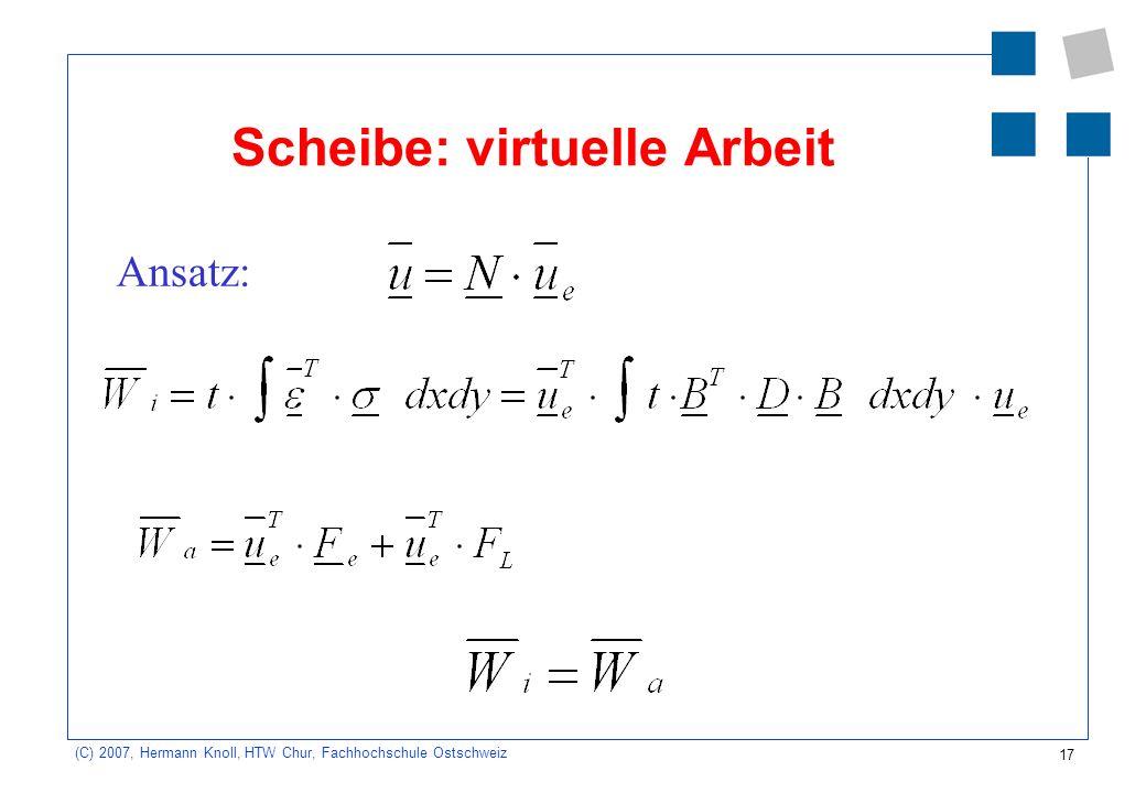 17 (C) 2007, Hermann Knoll, HTW Chur, Fachhochschule Ostschweiz Scheibe: virtuelle Arbeit Ansatz: