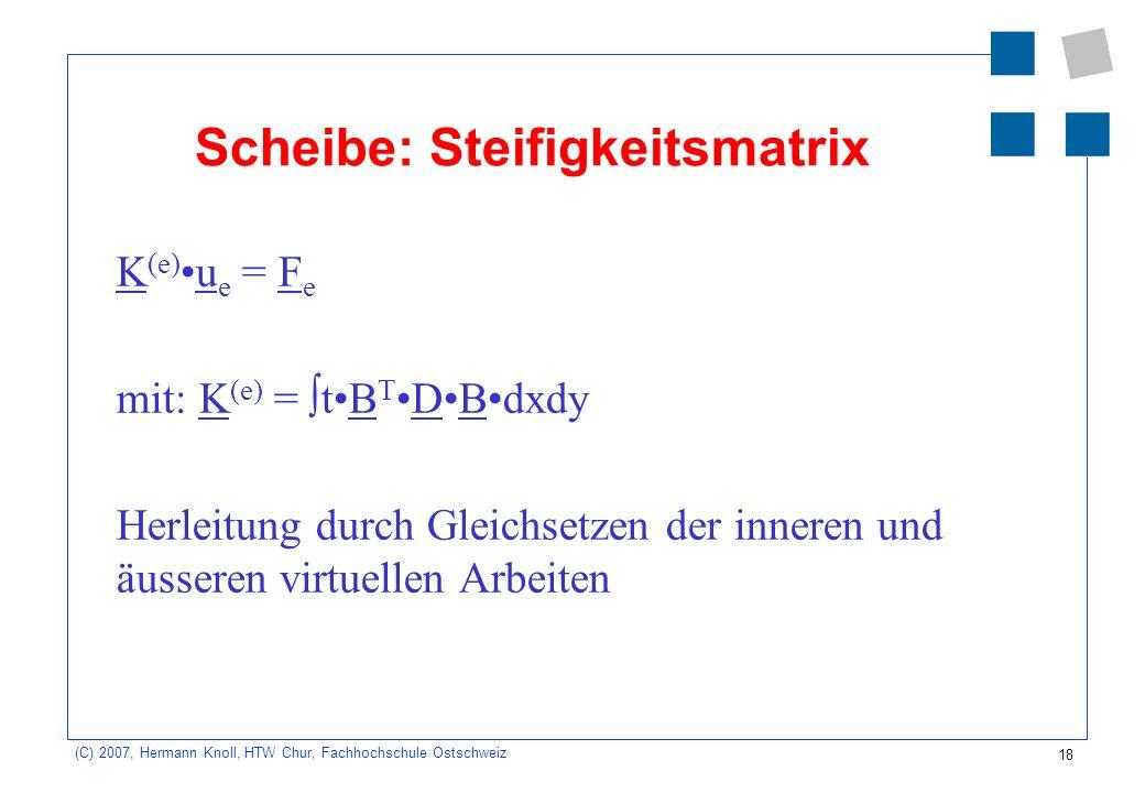 18 (C) 2007, Hermann Knoll, HTW Chur, Fachhochschule Ostschweiz Scheibe: Steifigkeitsmatrix K (e)u e = F e mit: K (e) = tB TDBdxdy Herleitung durch Gleichsetzen der inneren und äusseren virtuellen Arbeiten