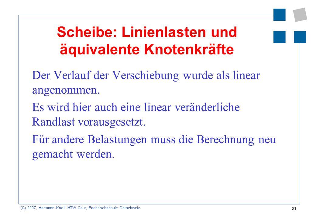 21 (C) 2007, Hermann Knoll, HTW Chur, Fachhochschule Ostschweiz Scheibe: Linienlasten und äquivalente Knotenkräfte Der Verlauf der Verschiebung wurde als linear angenommen.