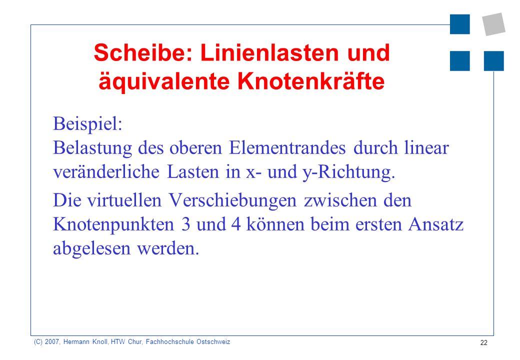 22 (C) 2007, Hermann Knoll, HTW Chur, Fachhochschule Ostschweiz Scheibe: Linienlasten und äquivalente Knotenkräfte Beispiel: Belastung des oberen Elementrandes durch linear veränderliche Lasten in x- und y-Richtung.