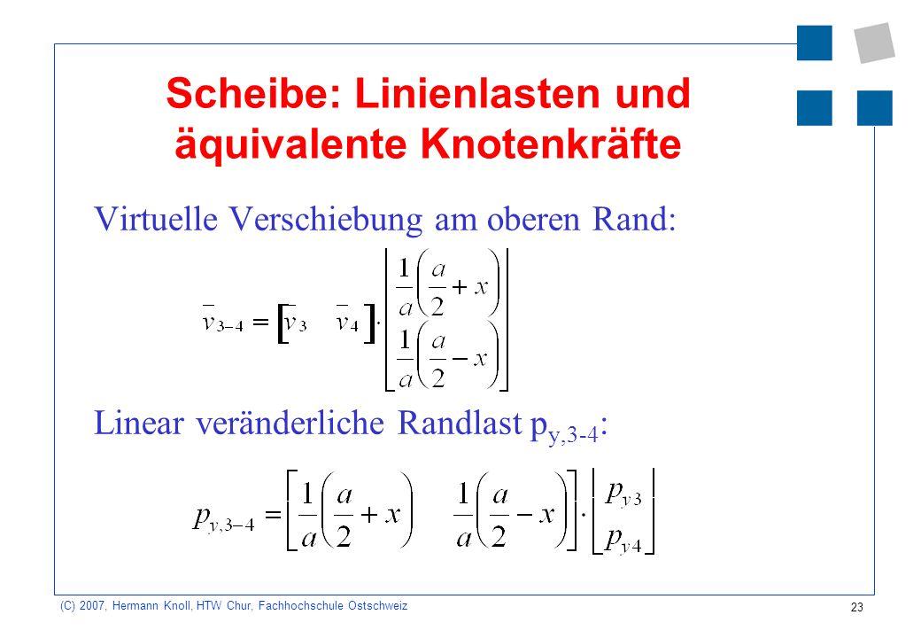 23 (C) 2007, Hermann Knoll, HTW Chur, Fachhochschule Ostschweiz Scheibe: Linienlasten und äquivalente Knotenkräfte Virtuelle Verschiebung am oberen Rand: Linear veränderliche Randlast p y,3-4 :
