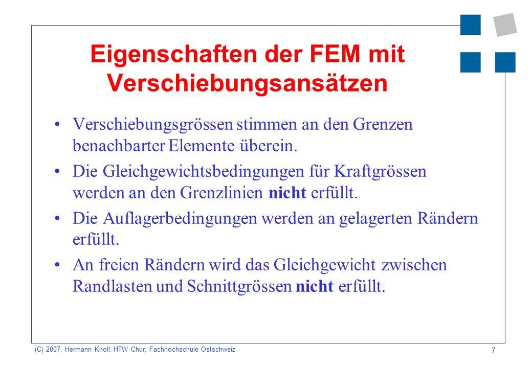28 (C) 2007, Hermann Knoll, HTW Chur, Fachhochschule Ostschweiz Scheibe: Eigenschaften von FE Immer zu erfüllen: –Starrkörperverschiebungen dürfen keine Knotenkräfte hervorrufen.