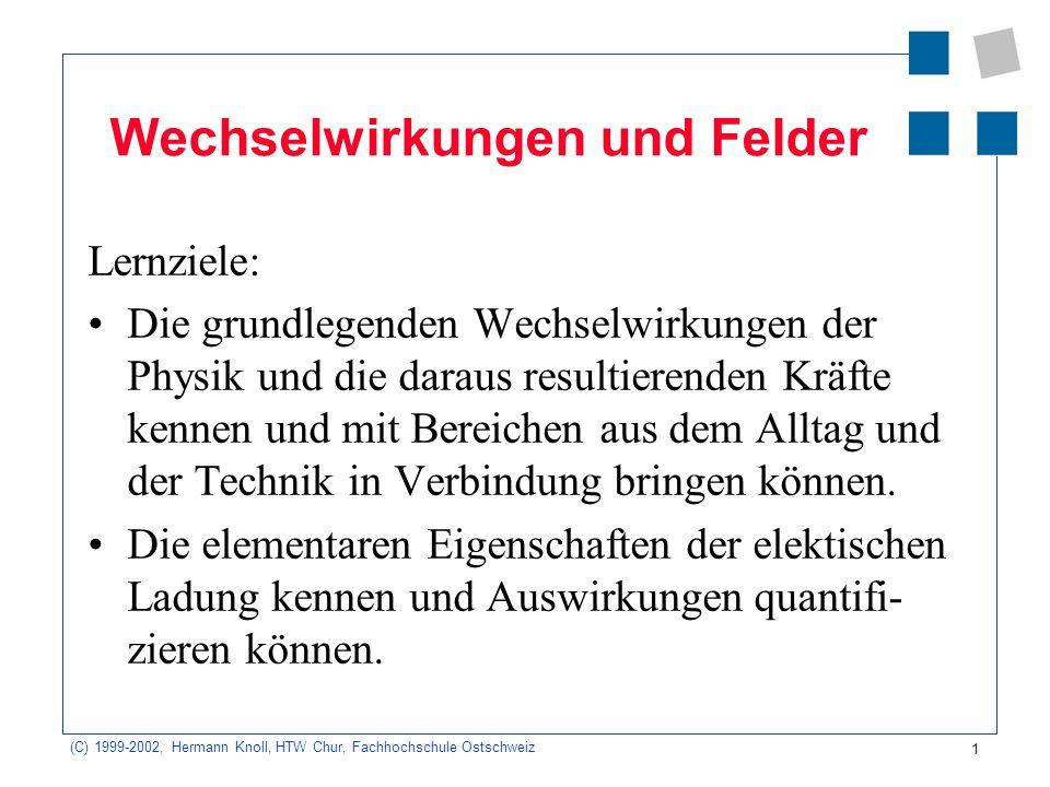 1 (C) 1999-2002, Hermann Knoll, HTW Chur, Fachhochschule Ostschweiz Wechselwirkungen und Felder Lernziele: Die grundlegenden Wechselwirkungen der Phys
