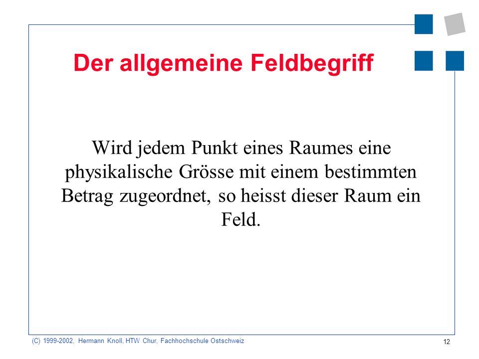 12 (C) 1999-2002, Hermann Knoll, HTW Chur, Fachhochschule Ostschweiz Der allgemeine Feldbegriff Wird jedem Punkt eines Raumes eine physikalische Gröss