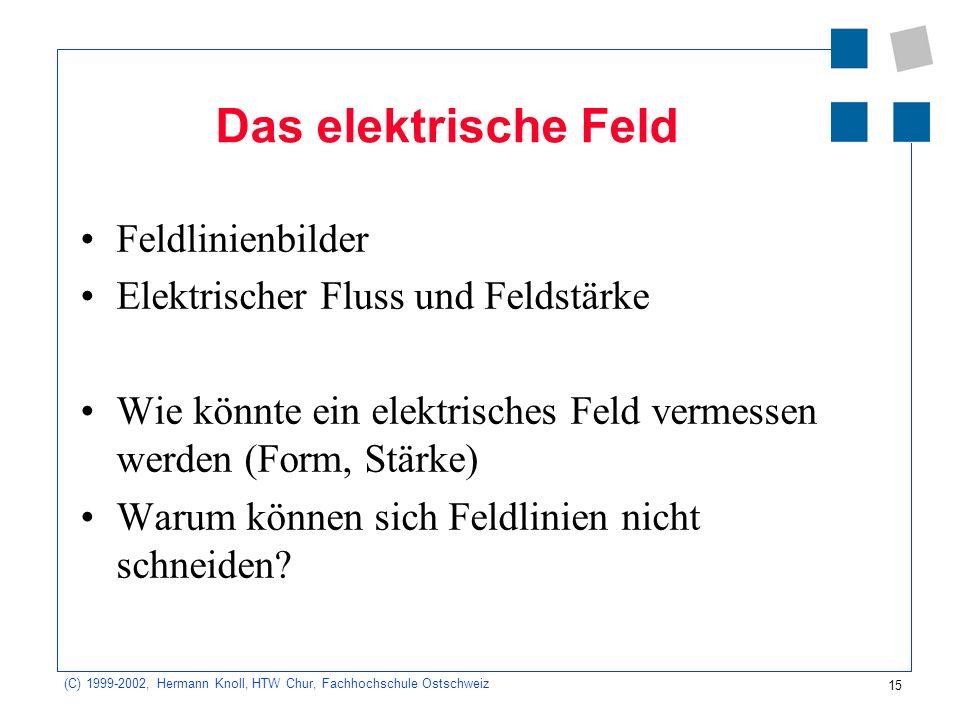 15 (C) 1999-2002, Hermann Knoll, HTW Chur, Fachhochschule Ostschweiz Das elektrische Feld Feldlinienbilder Elektrischer Fluss und Feldstärke Wie könnt