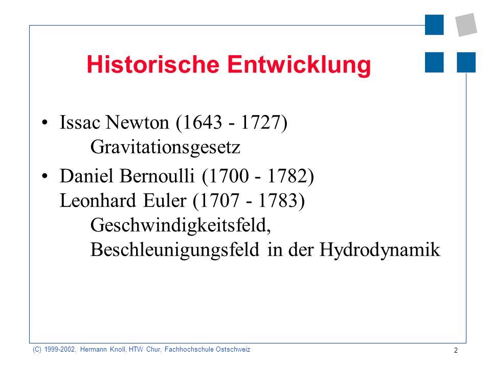 2 (C) 1999-2002, Hermann Knoll, HTW Chur, Fachhochschule Ostschweiz Historische Entwicklung Issac Newton (1643 - 1727) Gravitationsgesetz Daniel Berno