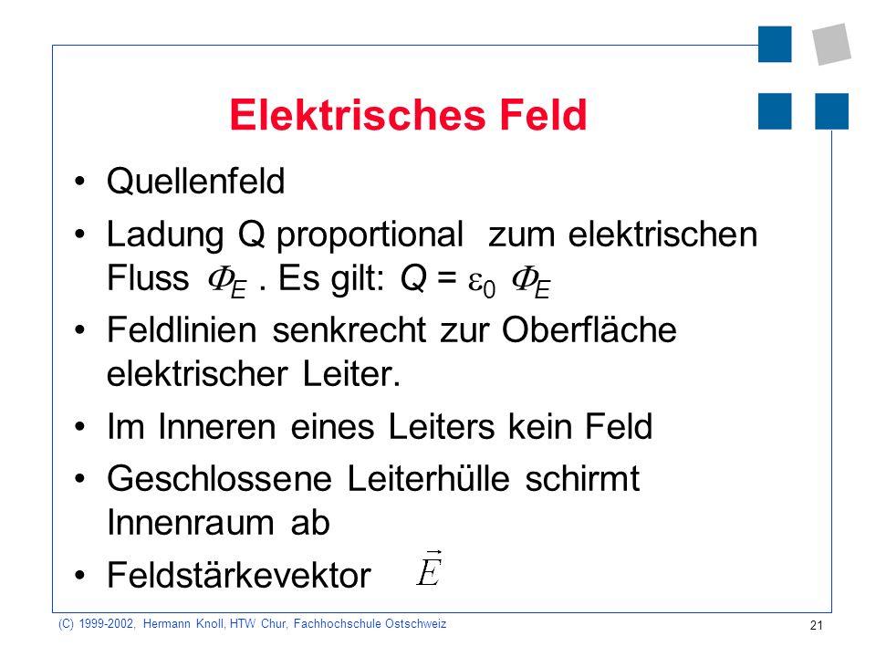 21 (C) 1999-2002, Hermann Knoll, HTW Chur, Fachhochschule Ostschweiz Elektrisches Feld Quellenfeld Ladung Q proportional zum elektrischen Fluss E. Es