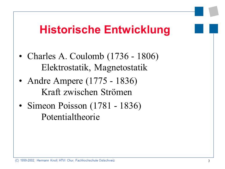 3 (C) 1999-2002, Hermann Knoll, HTW Chur, Fachhochschule Ostschweiz Historische Entwicklung Charles A. Coulomb (1736 - 1806) Elektrostatik, Magnetosta