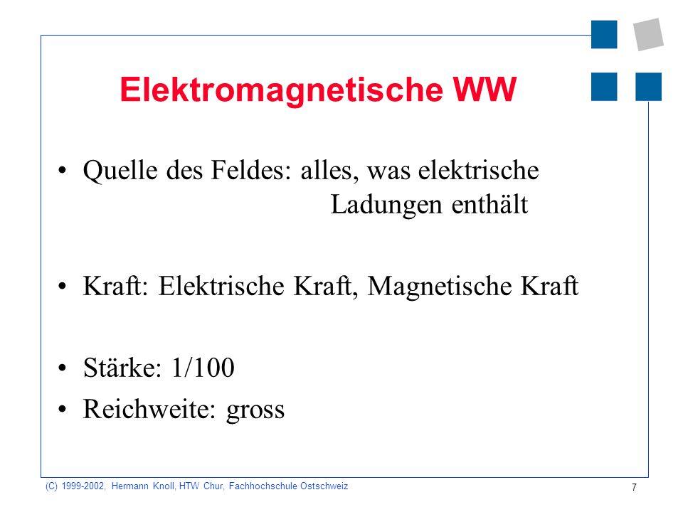 7 (C) 1999-2002, Hermann Knoll, HTW Chur, Fachhochschule Ostschweiz Elektromagnetische WW Quelle des Feldes: alles, was elektrische Ladungen enthält K